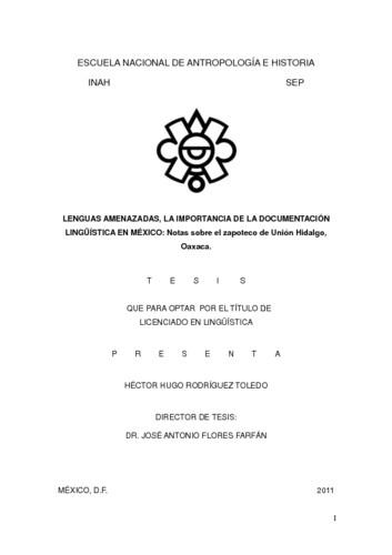 Lenguas amenazadas, la importancia de la documentación lingüística en México. Notas sobre el zapoteco de Unión Hidalgo Oaxaca