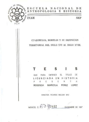Cuajomulco, Morelos y su definición territorial del siglo XVI al siglo XVIII