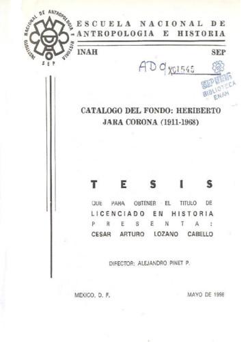 Catálogo del fondo:  Heriberto Jara Corona (1911-1968)
