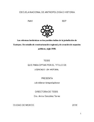 Las reformas borbónicas en los pueblos indios de la jurisdicción de Ecatepec
