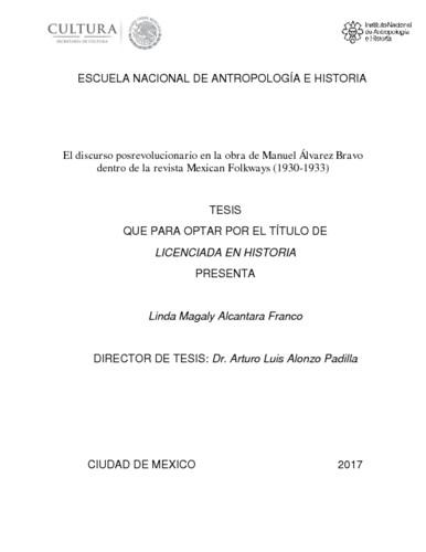 El discurso posrevolucionario en la obra de Manuel Alvarez Bravo dentro de la revista Mexican Folkways (1930-1933)
