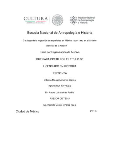 Catálogo de la migración de españoles en México 1939-1942 en el Archivo General de la Nación