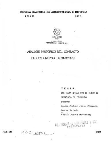 Análisis histórico del contacto de los grupos lacandones