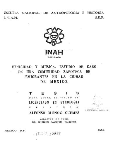 Etnicidad y música: estudio de caso de una comunidad zapoteca de emigrantes en la ciudad de México