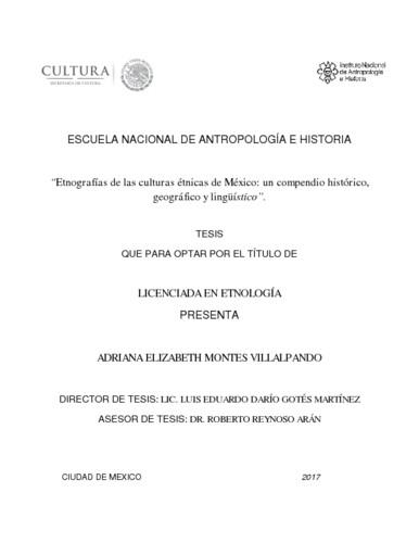 Etnografías de las culturas étnicas de México: un compendio histórico, geográfico y lingüístico