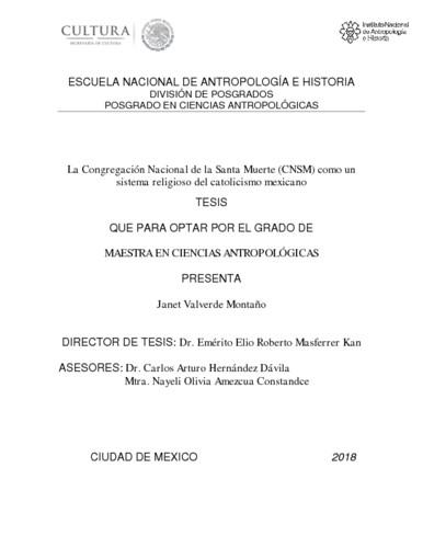 La Congregación Nacional de la Santa Muerte (CNSM) como un sistema religioso del catolicismo mexicano