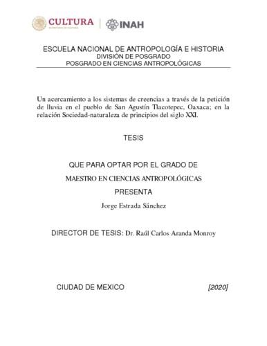 Un acercamiento a los sistemas de creencias a través de la petición de lluvia en el pueblo de San Agustin Tlacotepec, Oaxaca