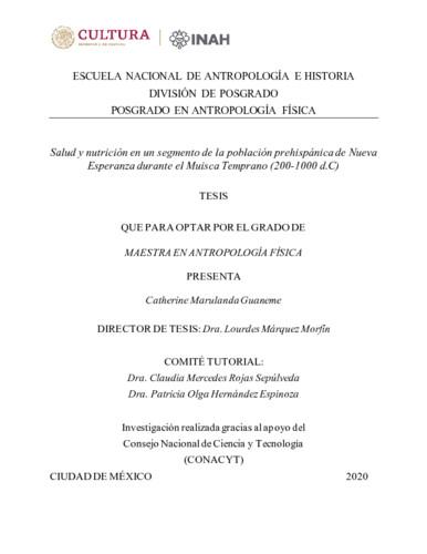 Salud y nutrición en un segmento de la población prehispánica de Nueva Esperanza durante el Muisca Temprano (200-1000 d.C)