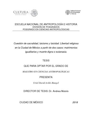 Cuestión de sacralidad, laicismo y laicidad. Libertad religiosa en la Ciudad de México a partir de dos casos