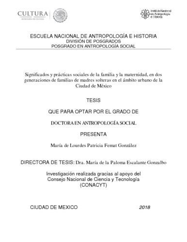 Significados y prácticas sociales de la familia y la maternidad, en dos generaciones de familias de madres solteras en el ámbito urbano de la Ciudad de México