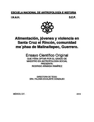 Alimentación, jóvenes y violencia en Santa Cruz el Rincón, comunidad me'phaa de Malinaltepec, Guerrero