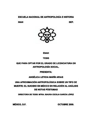 Una aproximación antropológica sobre un tipo de muerte: el suicidio en México en relación al análisis de notas póstumas