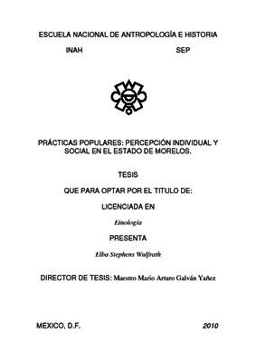 Prácticas populares: percepción individual y social en el Estado de Morelos