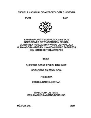 Experiencias y significados de dos infecciones de transmisión sexual. Gonorrea-purgación y virus de papiloma humano-granitos en una comunidad zapoteca del Istmo de Tehuantepec
