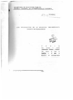 Los implementos de la molienda prehispánica: ensayo metodológico