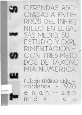 Ofrendas asociadas a entierros del Infiernillo en el Balsas Medio: su estudio y experimentación con tres métodos de taxonomía numérica