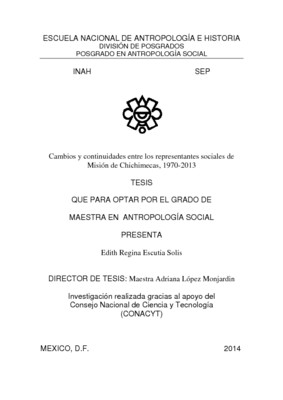 Cambios y continuidades entre los representantes sociales de Misión de Chichimecas, 1970-2013