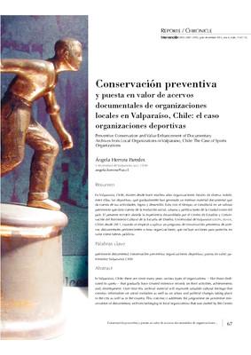 Conservación preventiva y puesta en valor de acervos documentales de organizaciones locales en Valparaíso, Chile: el caso de organizaciones deportivas