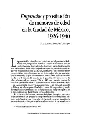 Enganche y prostitución de menores de edad en la Ciudad de México, 1926-1940