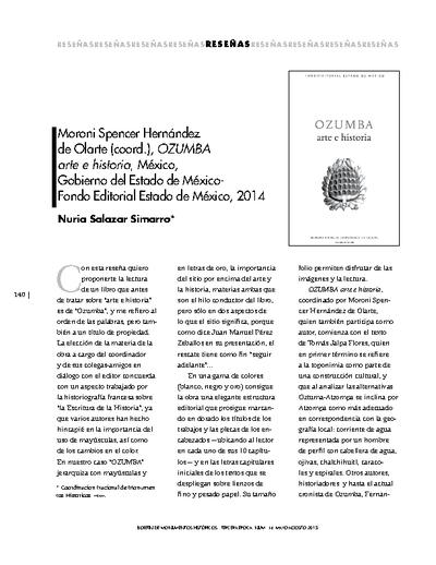 Moroni Spencer Hernández de Olarte (coord.), OZUMBA arte e historia, México, Gobierno del Estado de México-Fondo Editorial Estado de México, 2014