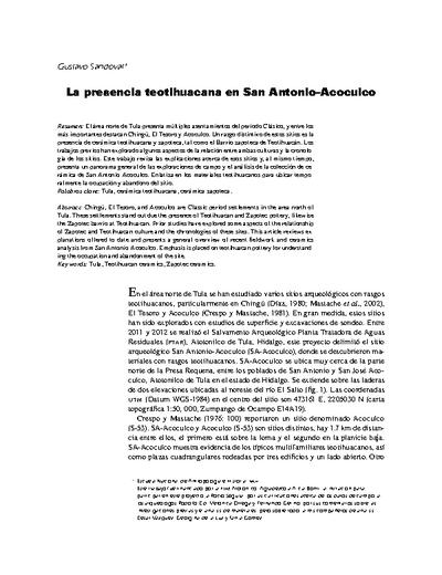 La presencia teotihuacana en San Antonio-Acoculco