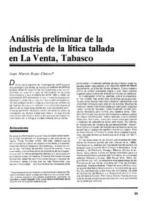 Análisis preliminar de la industria de la lítica tallada en La Venta, Tabasco