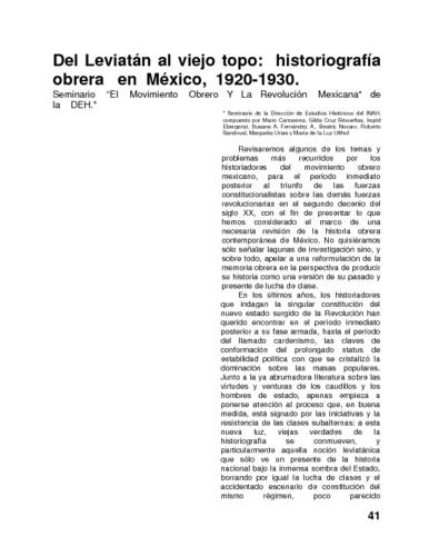 Del Leviatán al viejo topo: historiografía obrera en México, 1920-1930