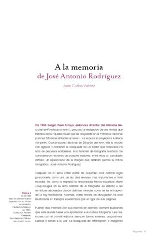 A la memoria de José Antonio Rodríguez/Realidad infantil y fotografía