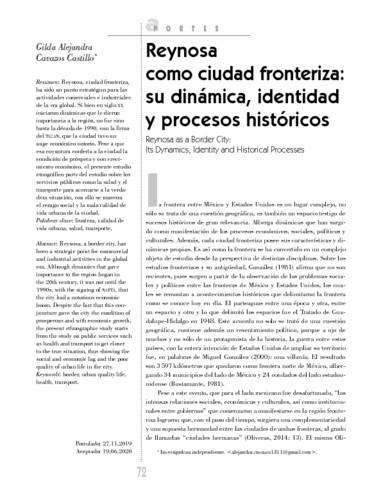 Reynosa como ciudad fronteriza: su dinámica, identidad y procesos históricos