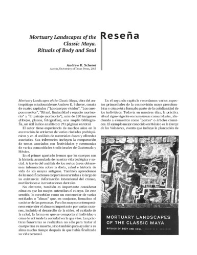 Mortuary Landscapes of the Classic Maya. Rituals of Body and Soul. Andrew K. Scherer Austin, University of Texas Press, 2015
