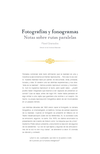 Fotografías y fonogramas. Notas sobre rutas paralelas
