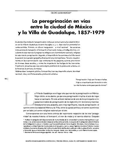 La peregrinación en vías entre la ciudad de México y la Villa de Guadalupe, 1857-1979