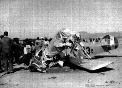 Avión que cayó en los campos de Balbuena, debido a una ráfaga de aire