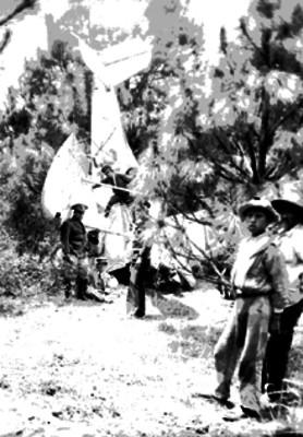 Hombres junto a un avión de la Fuerza Aérea que cayó en un bosque