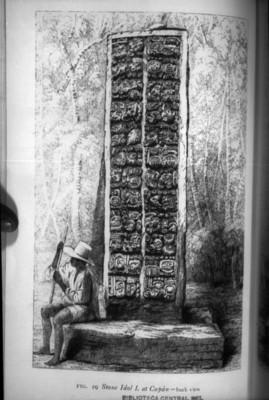 Litografía de Frederick Catherwood que muestra la parte posterior de una estela en Copán, reprografía