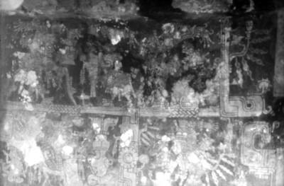 Detalle de un mural en el interior del Templo de los Frescos o estructura 16