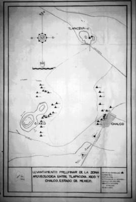Levantamiento preliminar de la zona arqueológica entre Tlapacoya, Xico y Chalco en el estado de México por Florencia Müller, reprografía