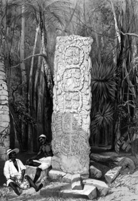 Lámina 3: Dorso de un ídolo en Copán, reprografía bibliográfica