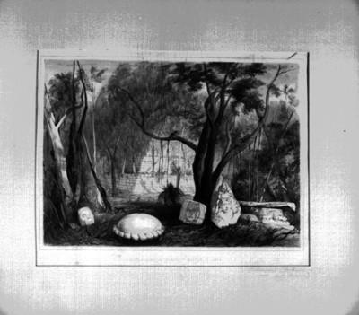 Lámina 2: Edificio Piramidal y fragmentos de Escultura de Copán, reprografía bibliográfica