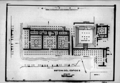 Plano de sitio arqueológico de Tula