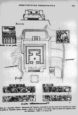 Bocetos de la pirámide y relieves del Tepozteco elaborados por el arquitecto Francisco Rodríguez, reprografía