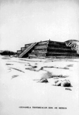 Dibujo de un edificio de la Ciudadela Teotihuacán, reprografía