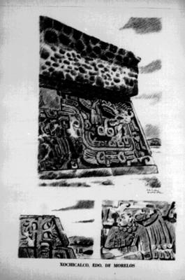 Boceto del Templo de las serpientes emplumadas de Xochicalco, reprografía