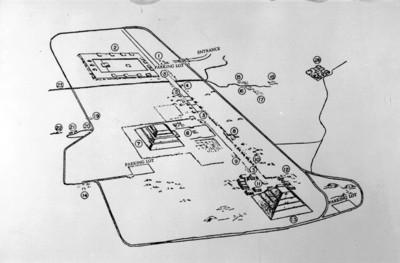 Dibujo de la zona arqueológica de Teotihuacán, reprografía