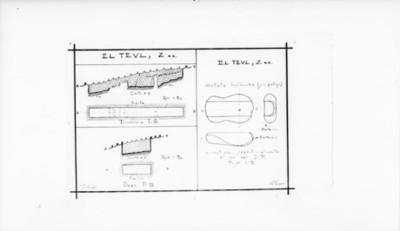 Plano del corte estratigráfico de Teul, detalle