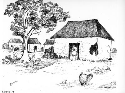 """Ilustración de una casas """"habitación"""" del periodo Preclásico, reprografía"""