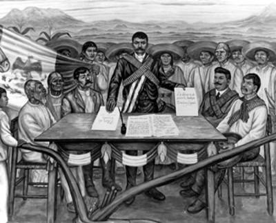 Mural que presenta la firma del Plan de Ayala que se encuentra enel Palacio de Gobierno de Cuernavaca