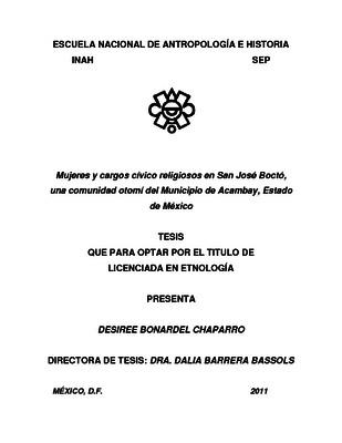Mujeres y cargos cívico religiosos en San José Boctó, una comunidad otomí del Municipio de Acambay, Estado de México